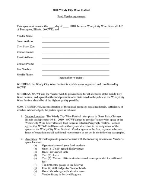 Vendor Contract Free Printable Documents Vendor Agreement Template Free
