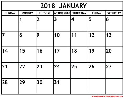 printable monthly calendar for january 2018 january 2018 calendar