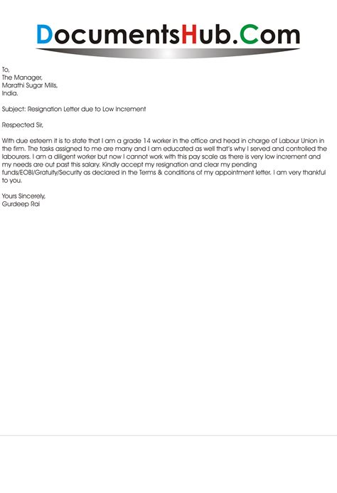 Principal Reasons For Joining Mba by Resignation Letter Due To Low Increment Documentshub