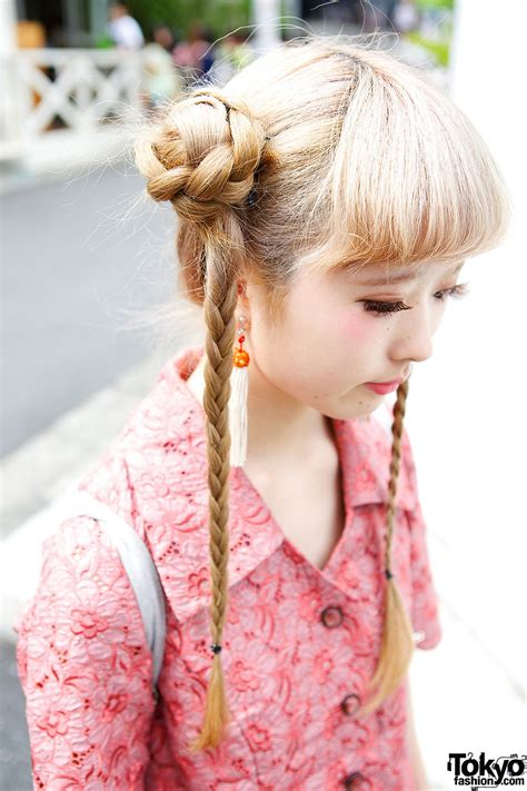 how to do kawaii hairstyles cute braids hairstyle floral dress faux fur sandals