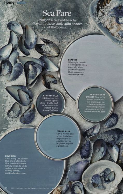 sea fare cool calm color palette from better homes gardens august 2014 homemaker