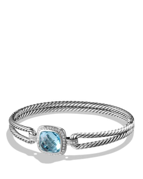 david yurman albion bracelet with diamonds and blue topaz