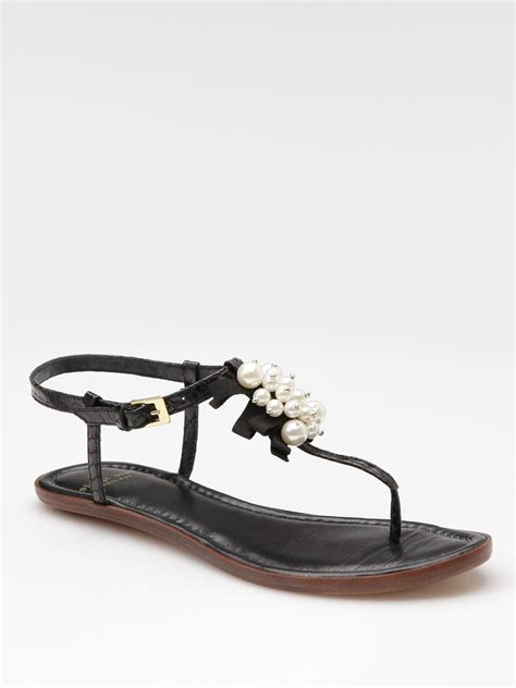 kate spade pearl sandals kate spade hedy pearl sandals in black lyst