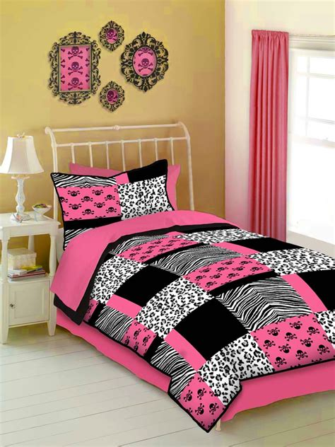 pink teen bedding pink and black animal print teen girl skull bedding twin