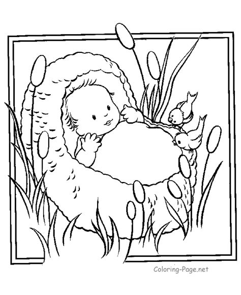 bible coloring page baby moses preschool bible