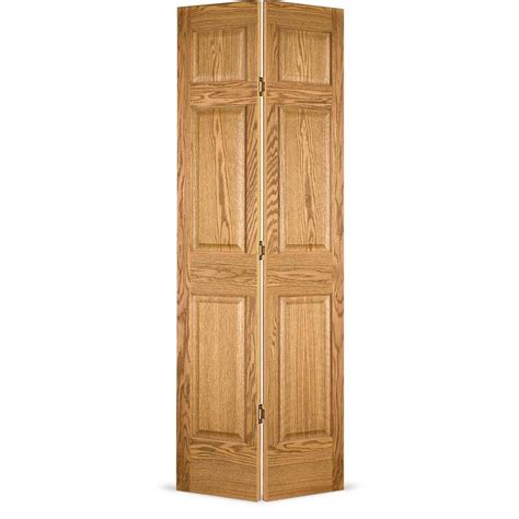 bifold interior closet doors shop reliabilt brown 6 panel wood oak bifold door common 30 in x 80 in actual 30 in x 79 in