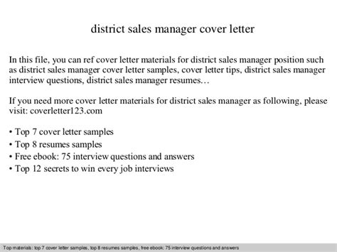cover letter for district manager position district sales manager cover letter