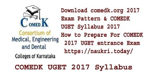 comedk exam pattern for engineering comedk org 2017 exam pattern comedk uget 2017 syllabus