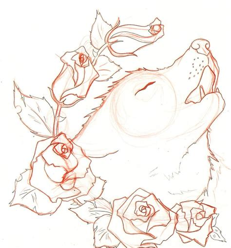 wolf with rose tattoo wolf by naruto32 on deviantart