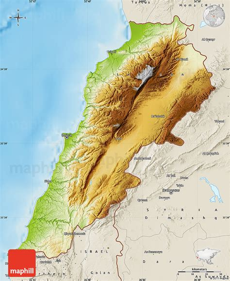 physical map of lebanon physical map of lebanon shaded relief outside
