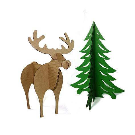 christmas tree cardboard pattern aliexpress com buy 3d puzzle christmas tree reindeer
