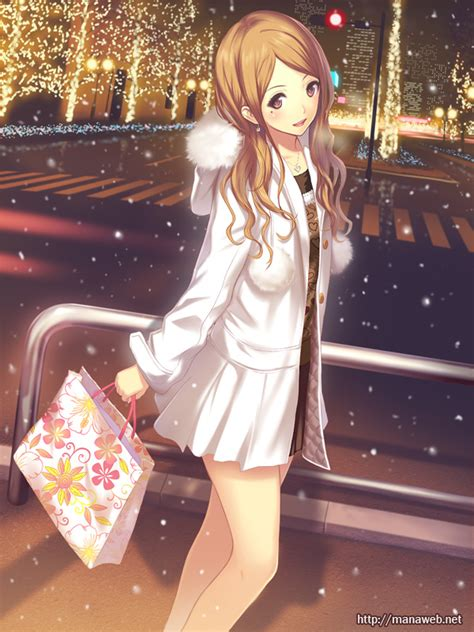 girl with brown hair in snow nagata ikue 989771 zerochan