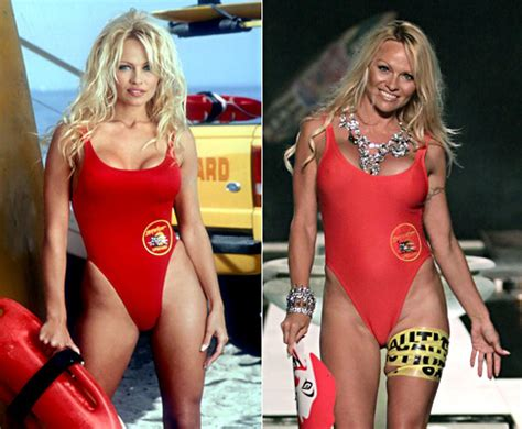 Puts On Baywatch Suit by Squeezes Into Iconic Baywatch