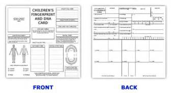fingerprint paper template id card template id kits child id cards ink strips