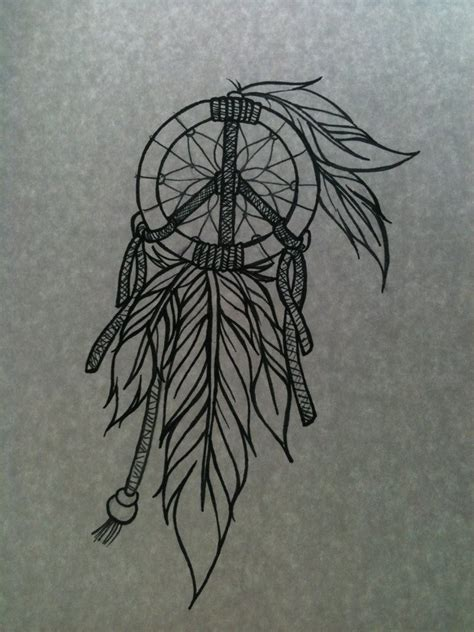 Peace Sign Dreamcatcher Drawing catcher tattoos