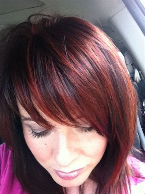 how much to color hair at mastercuts dark brunette and red highlights its pretty much what i