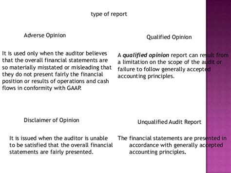 sle of qualified opinion audit report audit report