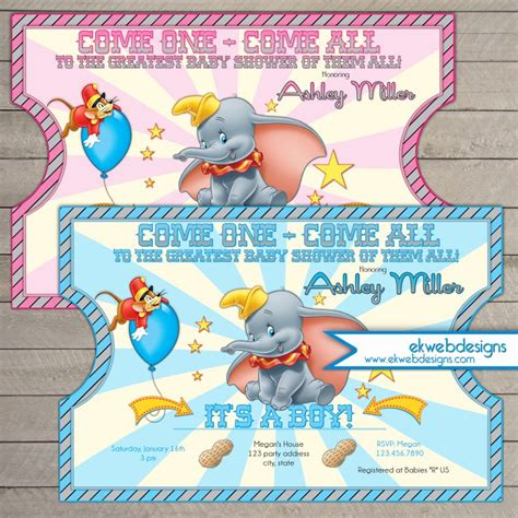 Dumbo Circus Ticket Style Baby Shower Invitations  Dumbo Invitation