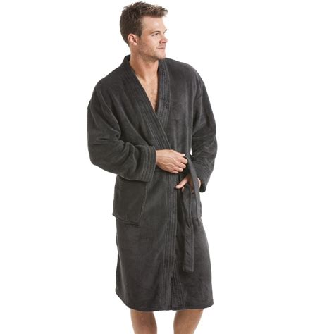 dressing gown mens grey fleece dressing gown
