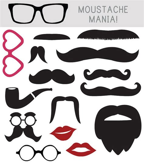 Design inspiration transfer printables moustaches clips cut out