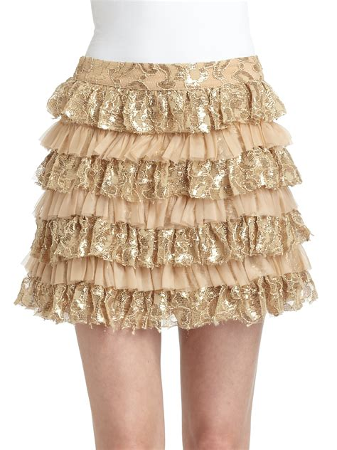 Skirt Ruffle tiered lace ruffle skirt in gold lyst