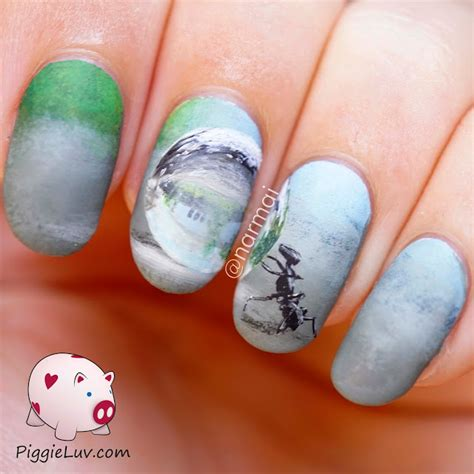 Freehand Nail by Piggieluv Freehand Ant With Water Drop Nail