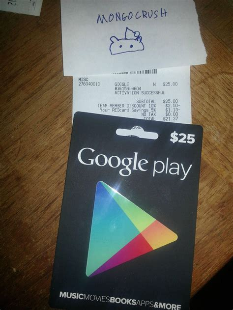 The Gift Card Store - google play store gift card allegedly purchased at store