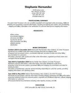 Rebate Processor Sle Resume by Order Management Resume Exles Order Fulfillment Officer Resume In Order Management Resume