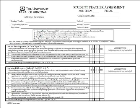 student assessment form template student evaluation form college of education