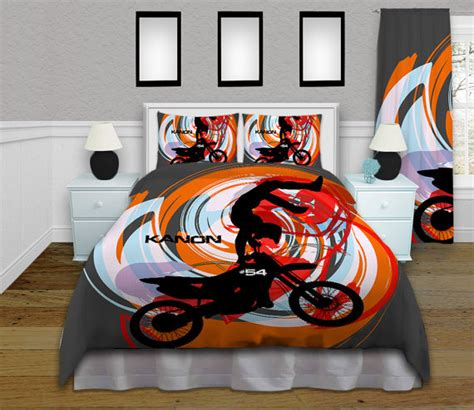 Fox Racing Bed Sets Orange Motocross Duvet Cover Bedding By Eloquentinnovations