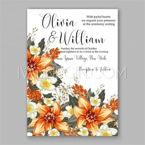 chic floral orange and thanksgiving place cards template orange peony flowers the s bouquet wedding