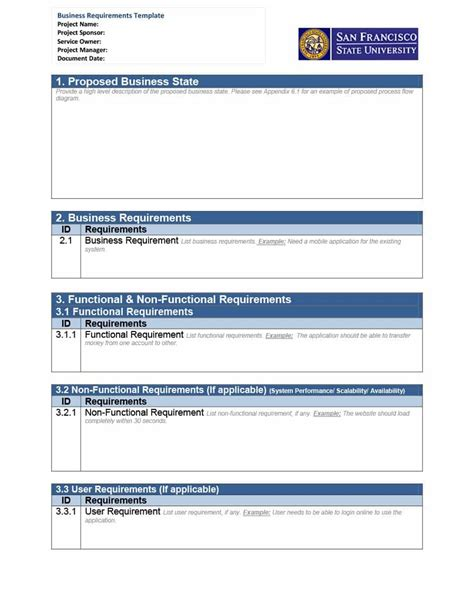 business requirements templates 40 simple business requirements document templates
