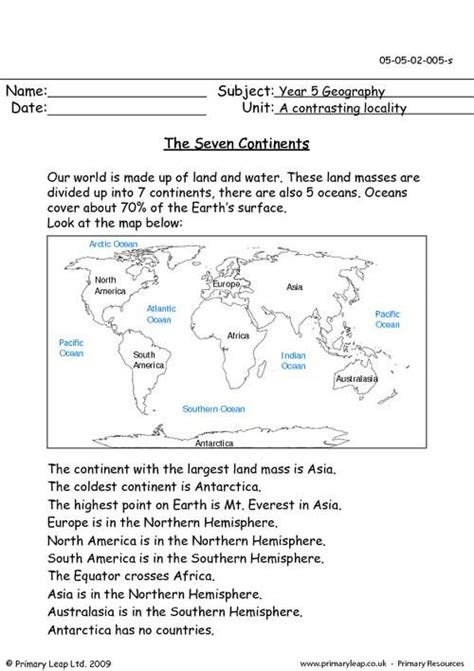 primaryleapcouk   continents worksheet