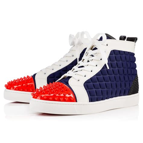christian louboutins sneakers christian louboutin lou spikes neoprene high top sneakers