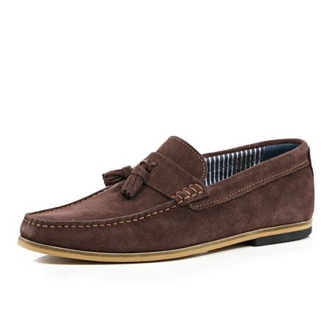 tassel loafers brown river island brown suede tassel loafers in brown for