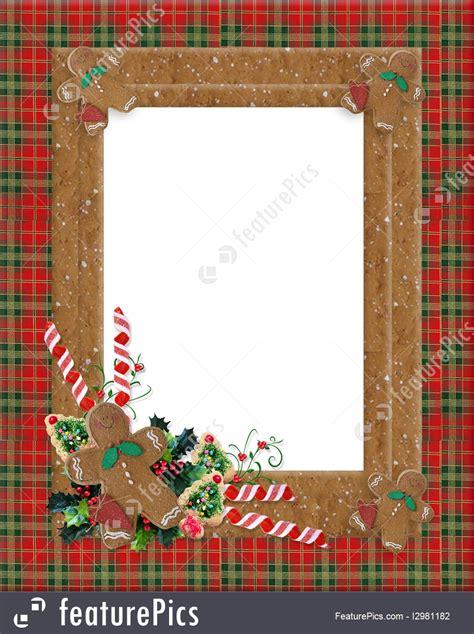 christmas border plaid gingerbread illustration