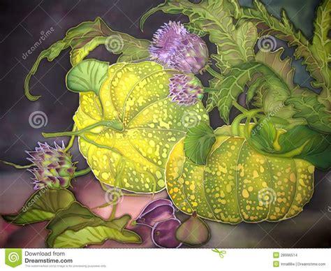 art painting  silk pumpkin  figs  flowers