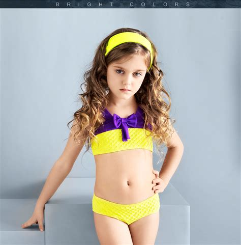 child model girls in bikinis balneaire 2016 fashion yellow color child models girls in