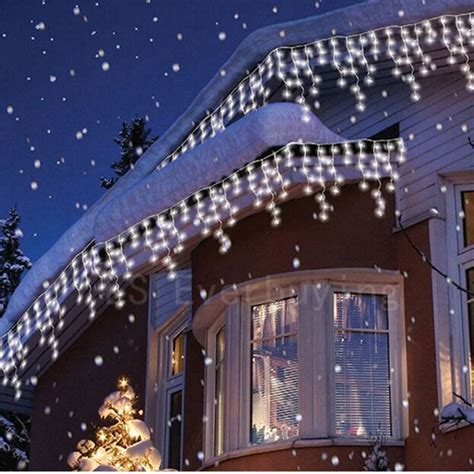 led icicle string lights with drop 4m 96 led curtain icicle string lights 220v
