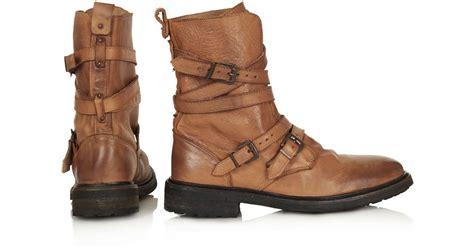 tan biker boots lyst topshop arrested buckle biker boots in brown