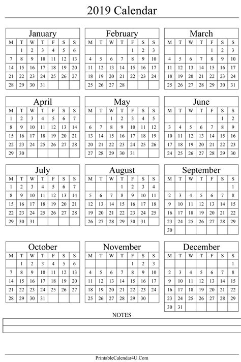 printable yearly calendar 2019 annual calendar 2019 portrait printable calendar 2017