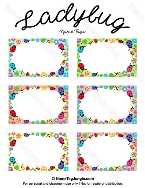 printable name label printable ladybug name tags
