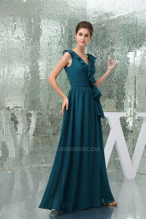 Sleeveless A Line Chiffon Dress a line chiffon v neck sleeveless bridesmaid dresses