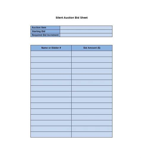 auction bid 40 silent auction bid sheet templates word excel
