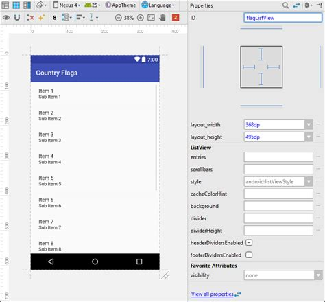 can t display custom view in android studio layout editor custom list row item layout