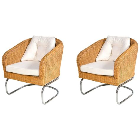 rattan barrel chair mid century wicker and chrome barrel chairs at 1stdibs