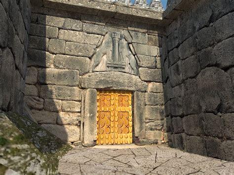 la porta dei leoni sketch reconstruction architecture micene porta dei leoni