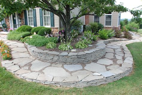 outdoor landscapes on concrete retaining walls