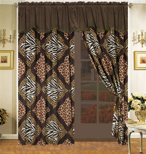giraffe curtains 4pc diamond safari patchwork micro fur curtain set leopard