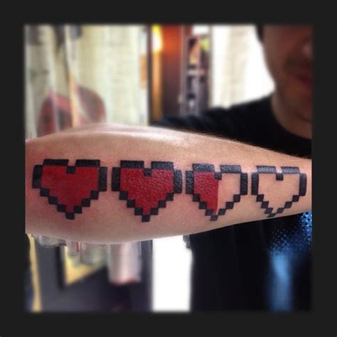 8 bit heart tattoo the legend of 8 bit done by yao